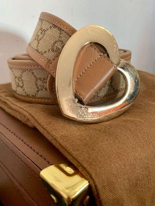 Gucci Heart Buckle GG Canvas Leather Belt Brown