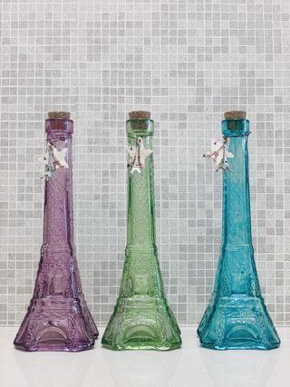 立體浮雕 鐵塔風玻璃瓶