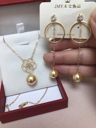 Real 10K gold earring ➕necklace