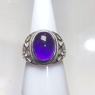 Natural Amethyst bezel vintage ring