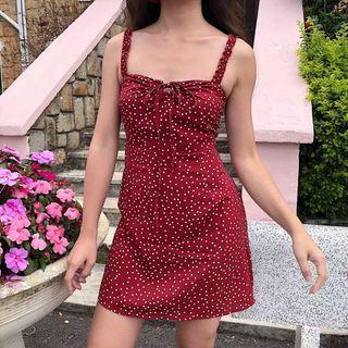PREORDER Hailey polka dot dress - red