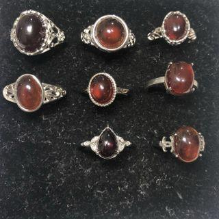 Natural Garnet crystal rings 石榴石戒指