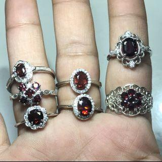 Natural Garnet faceted rings 石榴石戒指