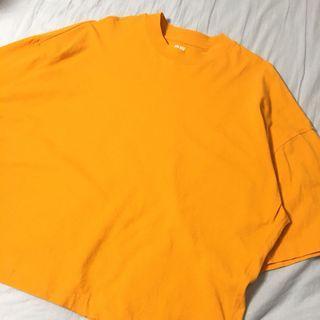 🚚 Uniqlo U系列 女裝寬版五分袖上衣 黃色上衣