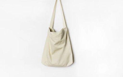 米白色帆布包 斜背 肩背 帆布包