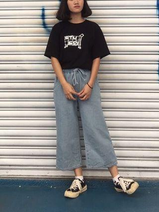 淺藍綁帶寬褲
