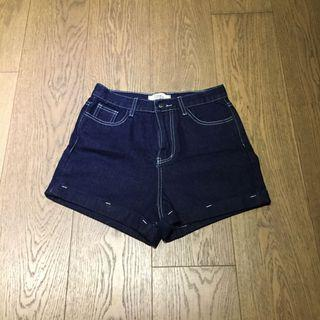 Deep Blue Denim Shorts White Stitching Rolled up 深藍牛仔短褲
