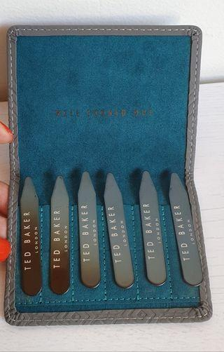 TED BAKER COLLAR STIFFENERS SET - ASH GREY GEO - RRP $50