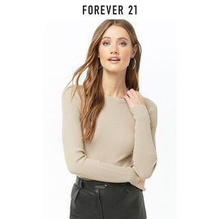 forever 21 tan brown long sleeve knit top