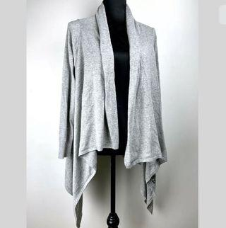Angora wool blend sz S/M sequin grey basic open drape cardigan jacket winter