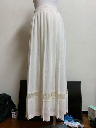 🚚 古董超美白色裙擺細緻蕾絲百摺裙vintage古著轉裊裊
