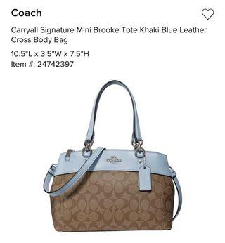 Coach Mini Brooke Tote Khaki Blue