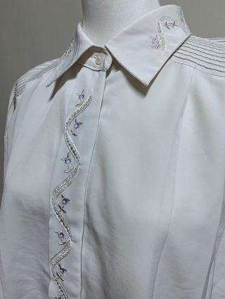 🚚 古董唯美紫色刺繡長袖襯衫vintage古著