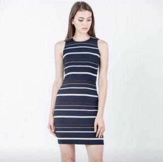Ninth collective magret stripes dress in blue and white