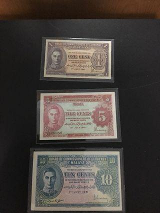 1 , 5 & 10 cents (UNC) Board of commissioners of currency Malaya