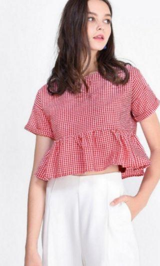 BN FAYTH JESEY GINGHAM TOP