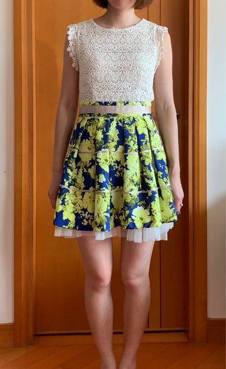通花連身裙 blue & shocking yellow flower dress