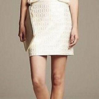Banana republic size 0 off white skirt with silver
