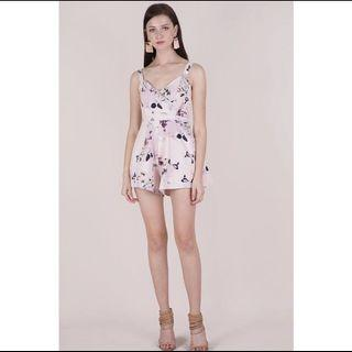 TTR Lori pleat front romper in pink floral size S
