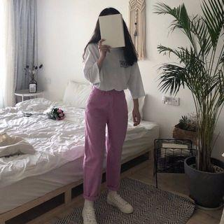 粉紅色 💞 超可愛ㄉ 直筒牛仔褲