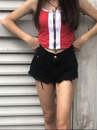 🚚 Ring zip red,white top