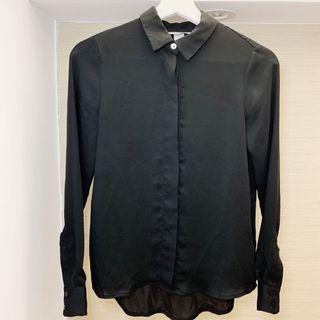 H&M Women's Black Button up Shirt Blouse (Satin Silk-Like Feel)