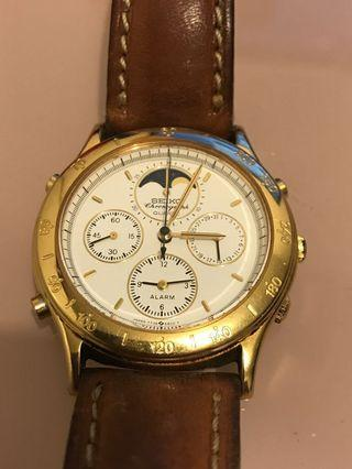 精工 三針 手錶 Seiko 7T36-6A20 Moon Phase Chronograph Gold QUARTZ  Watch