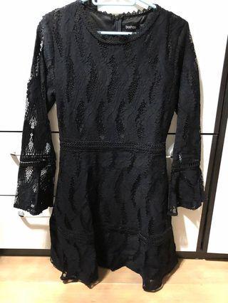 黑色喱士裙 中袖喱士