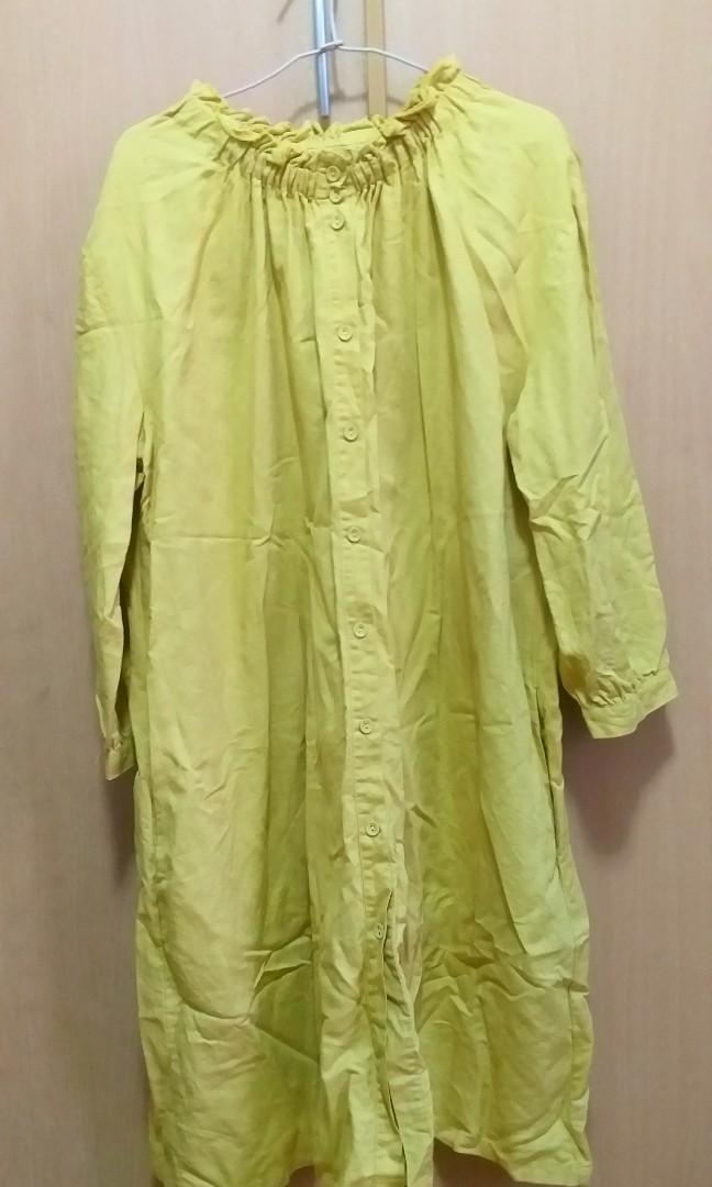 寬鬆大尺碼日系黃色洋裝