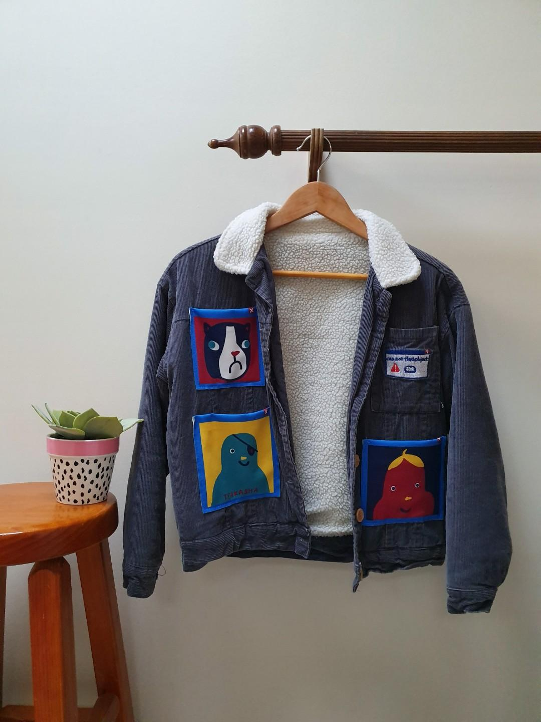 adorable Corduroy Sherpa jacket with patches size 6 xs
