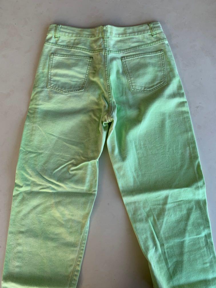 ASOS 100% Cotton Avocado Green Jeans Boyfriend Cut Size 12
