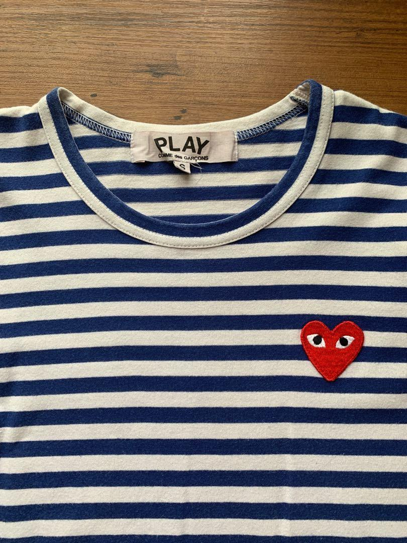 Authentic CDG Blue/White Strip Long Sleeve with Red Heart