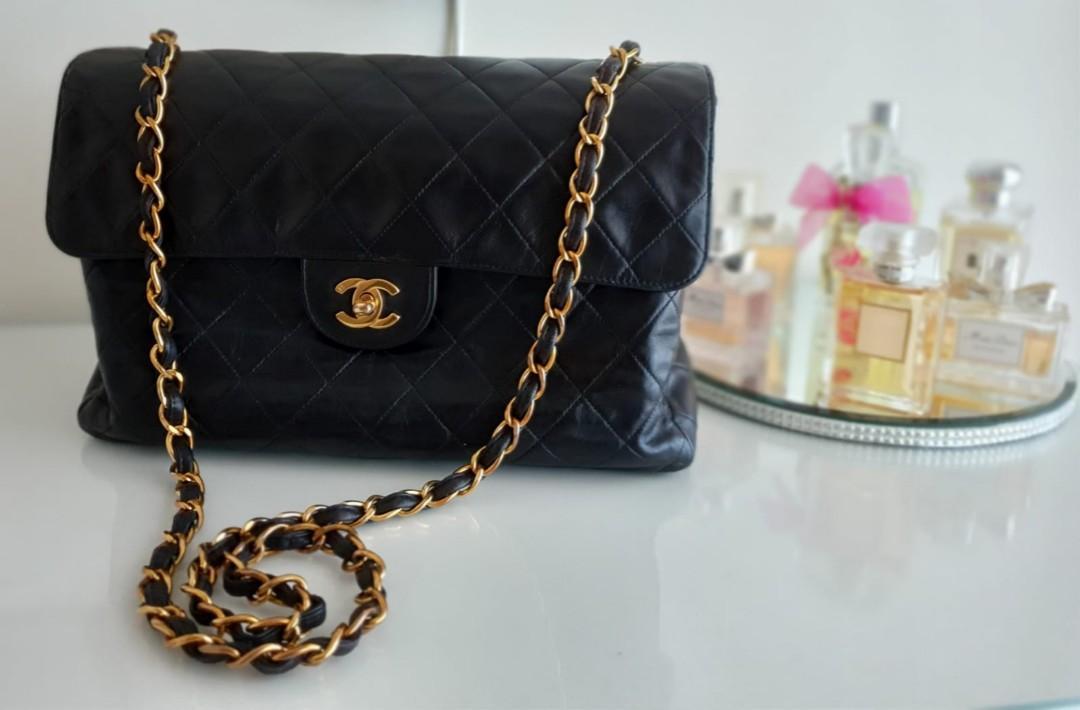 "Authentic chanel 12"" vintage jumbo black bag"