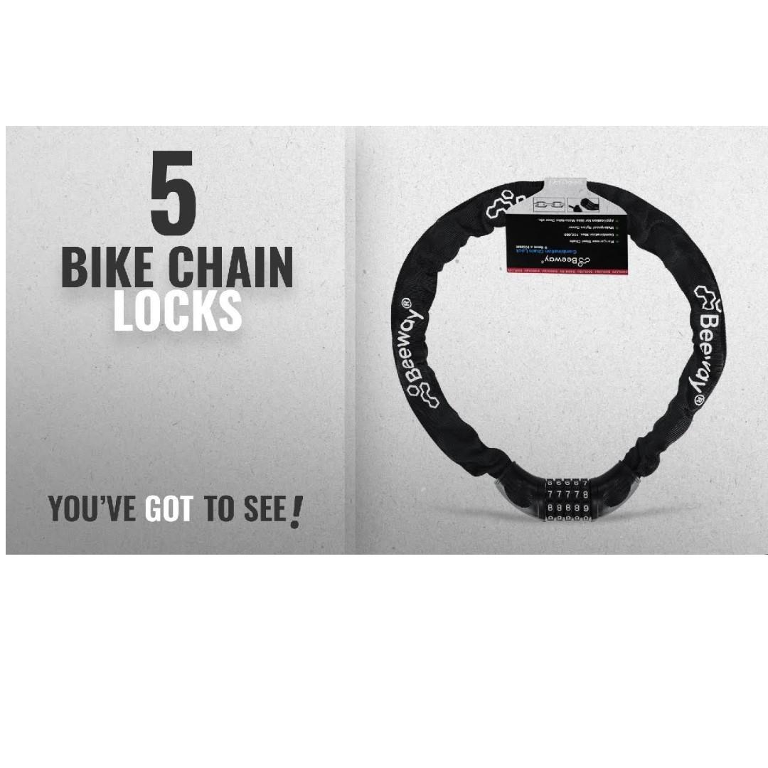 Bike Lock Chain Locks Heavy Duty Hardened Steel Combination Resettable 5-Digit