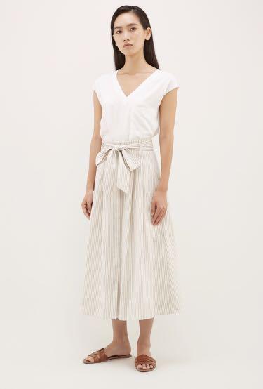 Editor's market pinstripe wrap midi/maxi skirt (size small)