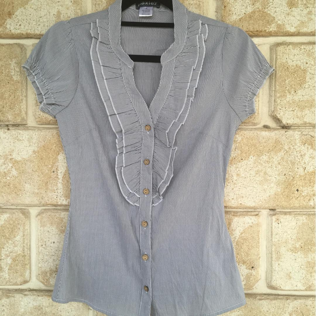 FREE POST Womens Blouse Work City Frill Design Small Size 8