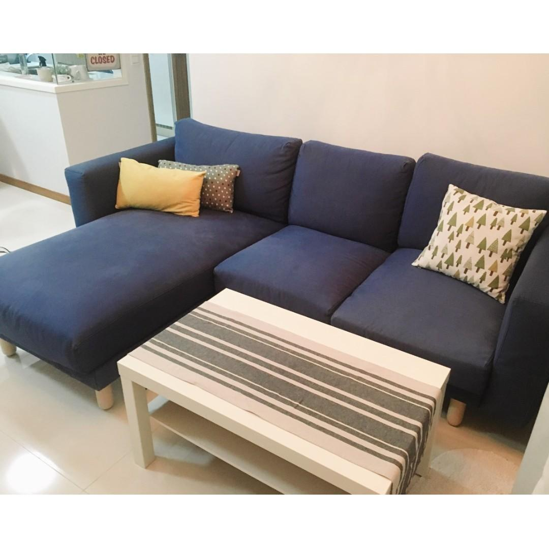 Ikea Norsborg L Shaped 3 Seat Navy Blue