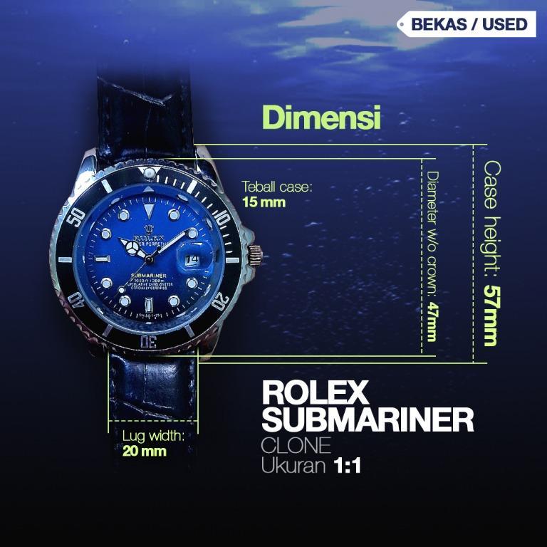 Jam Tangan Pria Diver Rolex Submariner Tanggal Cyclops Kulit Clone
