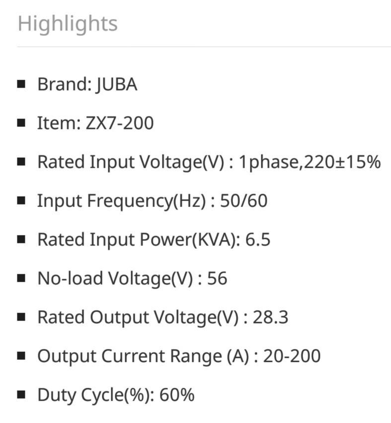 Juba Welding ZX7 200 (IGBT INVERTER WELDING MACHINE)