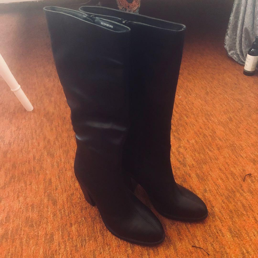 Long black heeled boots size 37