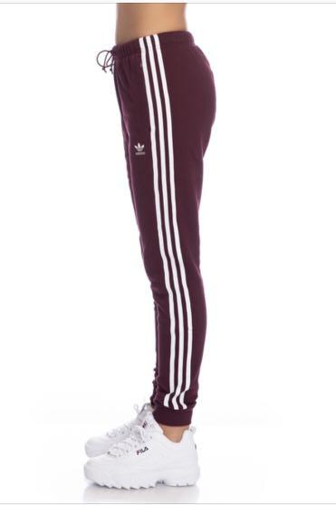 New maroon Adidas Originals Trefoil Women's Cuffed Track Pants in XS