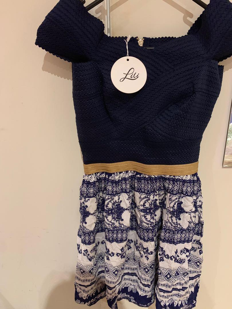 New navy blue off the shoulder dress with print size XS-S