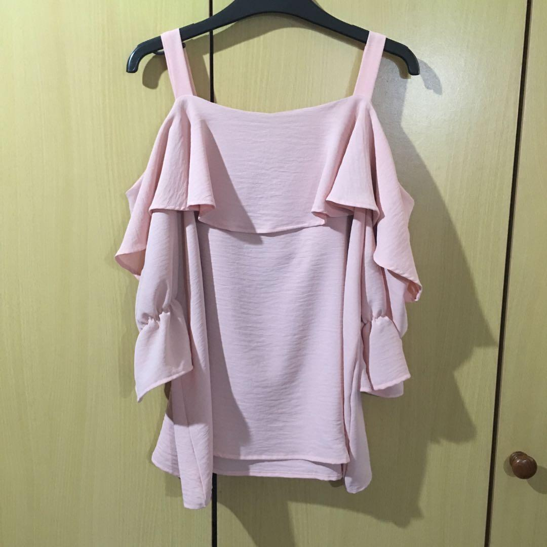 Playdress pink cold shoulder chiffon blouse in size S