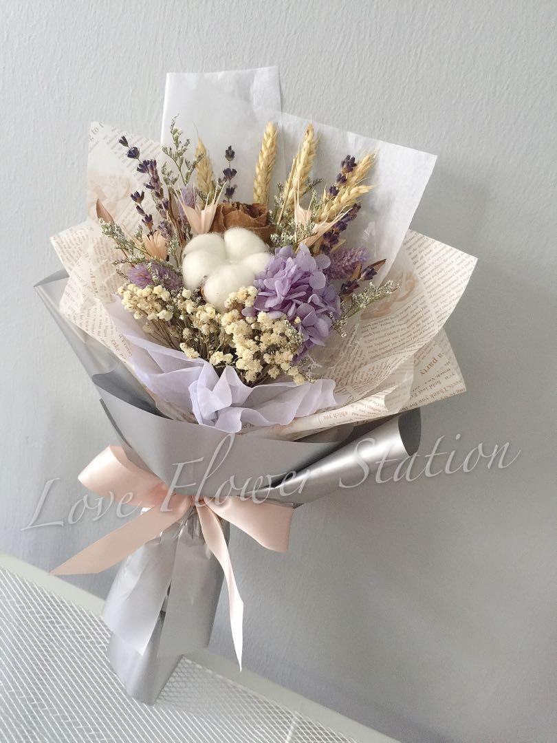 Preserved Hydrangea Cotton With Dried Flower Bouquet Dried Flower Bouquet Graduation Flower Bouquet Birthday Flower Bouquet Teachers Day Flower Bouquet Gardening Flowers Bouquets On Carousell