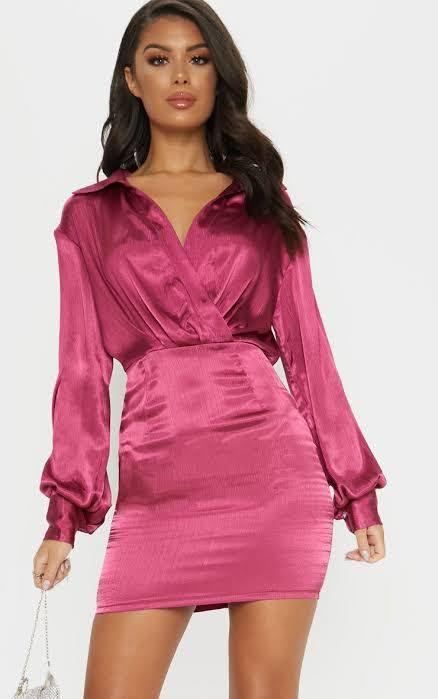 Pretty Little Thing Berry Pleated Satin Shirt Bodycon Dress