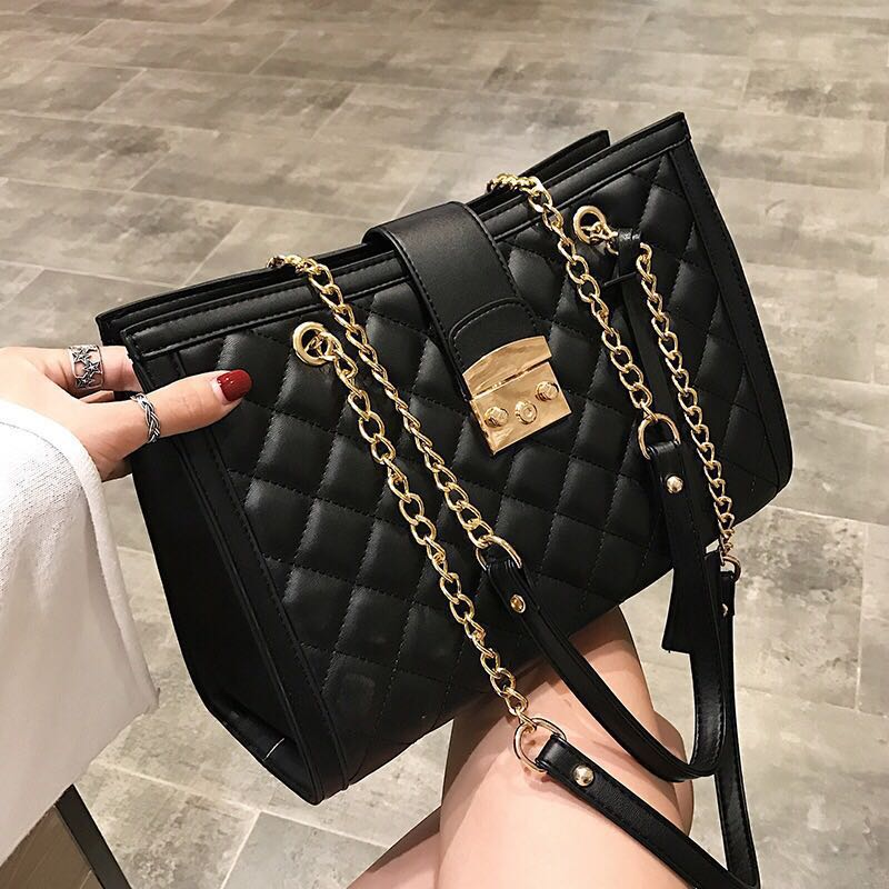 Quilted Leather Handbag Hand Bag Chanel Style Women Woman Las Office Work Casual