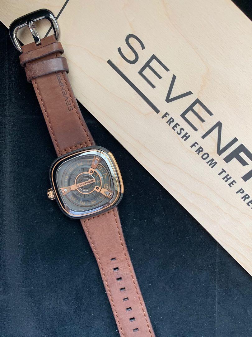SEVENFRIDAY M2/02 M-Series (rose gold & black brown leather strap)