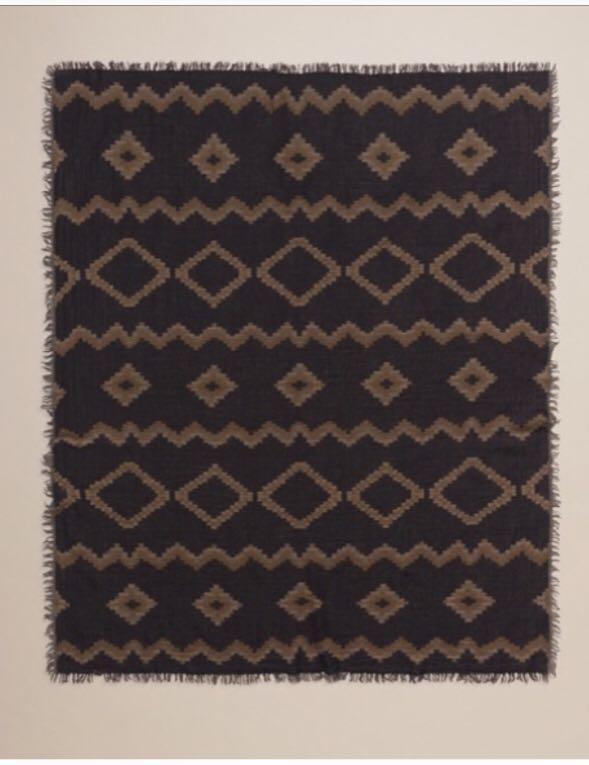 Wilfred wool mosaic diamond blanket scarf (colour as shown)