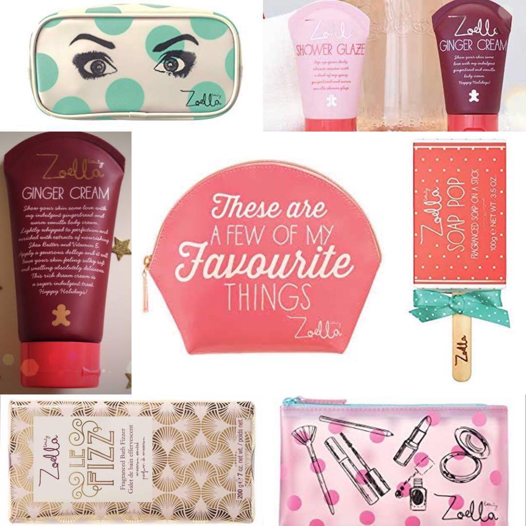 Zoella Beauty Bundle Hand Body Cream Soap Pop Bath Bomb Cosmetic Coin Purse Bag