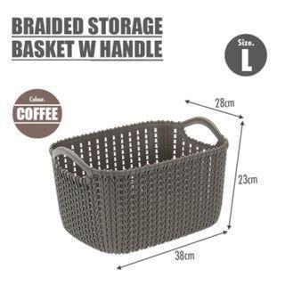 Bundle Of 3 (L) Braided Storage Basket With Handle 100% Virgin PP